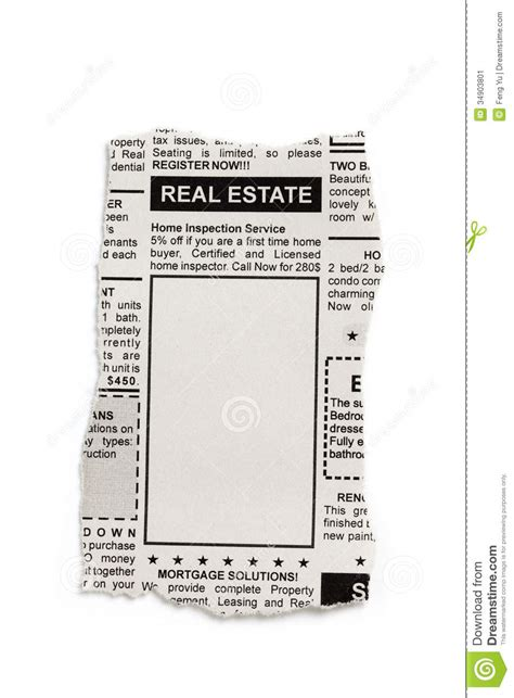 Real Estate Ad Stock Image Image Of Backgrounds Background 34903801 Newspaper Advertisement Template