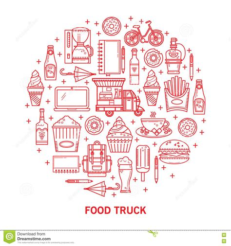 food truck design elements linear icons street food stock vector image 79772751