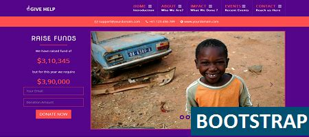 bootstrap templates for ngo responsive ngo template give help free html