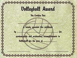 Volleyball Award Certificates   Midwest Volleyball Warehouse