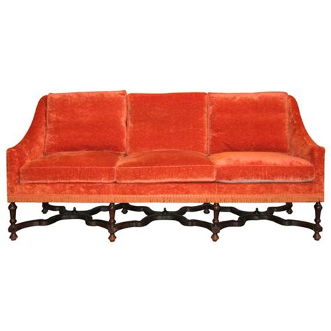 orange settee 19th century walnut settee upholstered in orange silk