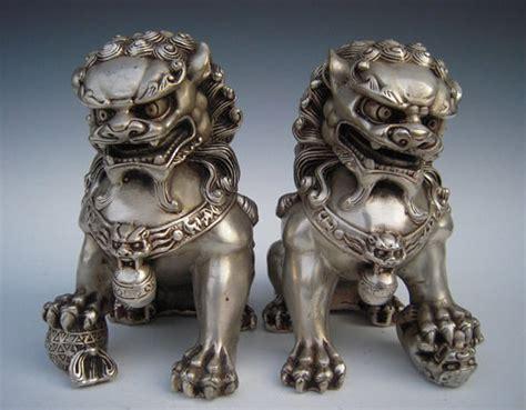 fu dogs antique silver guardian foo fu door guard statue a pair ebay