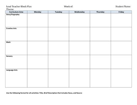 template for curriculum search results for lesson plan template for toddlers