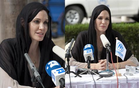 hollywood actress with quran pictures of angelina jolie at a press conference in