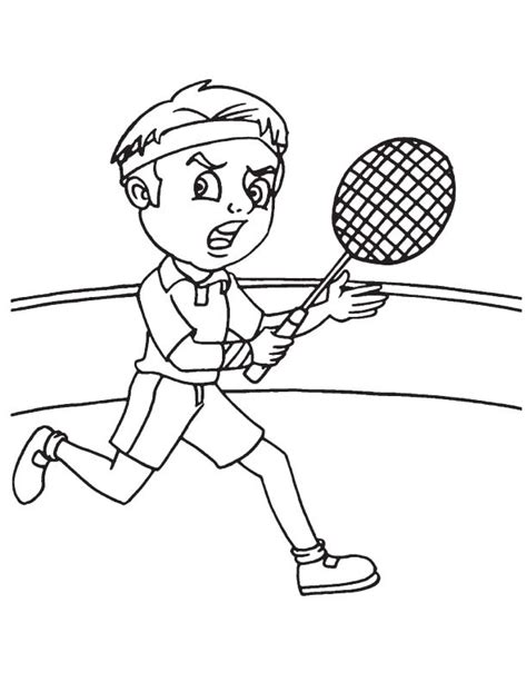 badminton player running coloring page download free