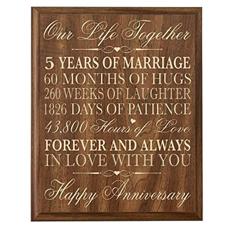 Wedding Anniversary 5th by 5th Wedding Anniversary Wall Plaque Gifts For 5th