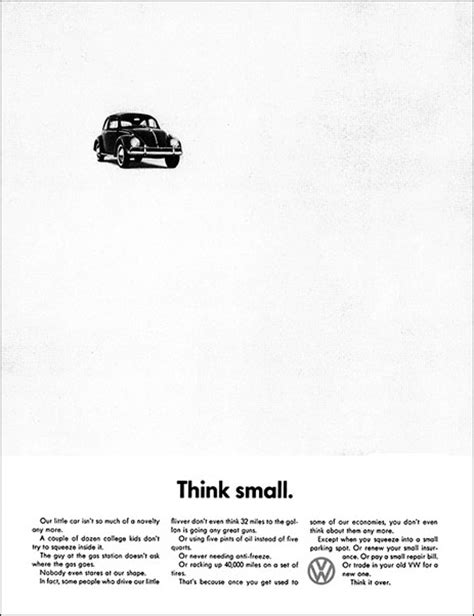 volkswagen think small negative space nothing says a lot design graphic