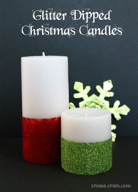 glitter dipped christmas candles