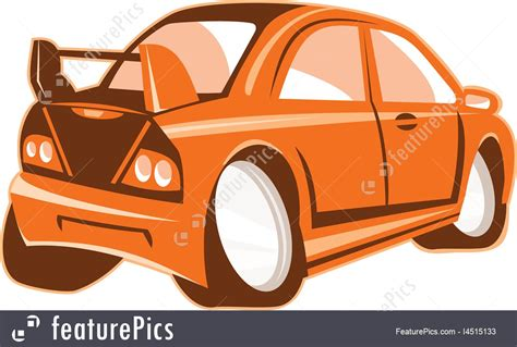 cartoon car back illustration of sports car rear cartoon isolated