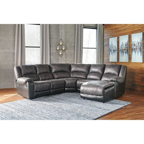 ashley leather sectional with chaise ashley signature design nantahala faux leather reclining