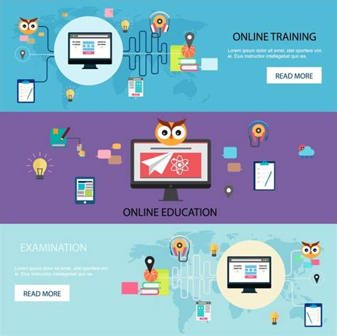 online tutorial websites online training promotion web design in horizontal style
