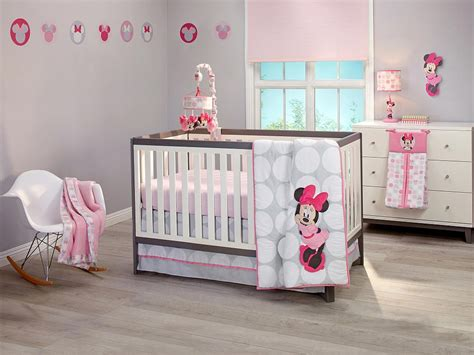 minnie mouse baby bedding minnie mouse polkadots premier 4 piece crib bedding set