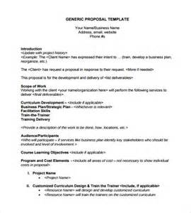Generic Business Plan Template Sample Business Template Business Proposal Template