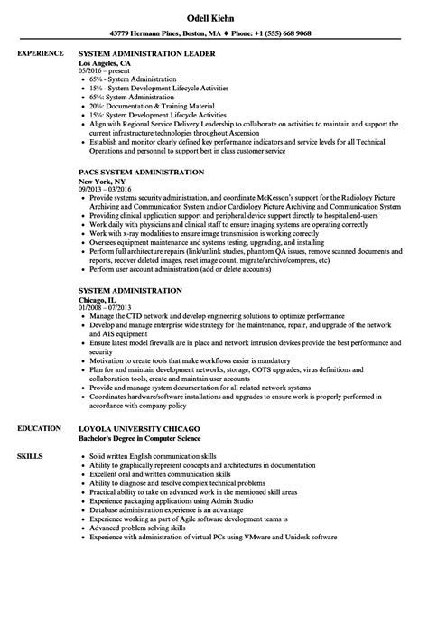 advanced systems administrator resume advanced systems
