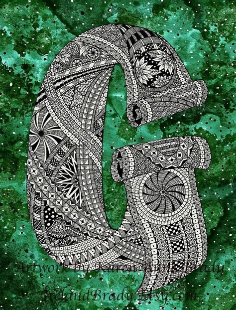 doodle inisial aceo alphabet letter g zentangle doodle initial by