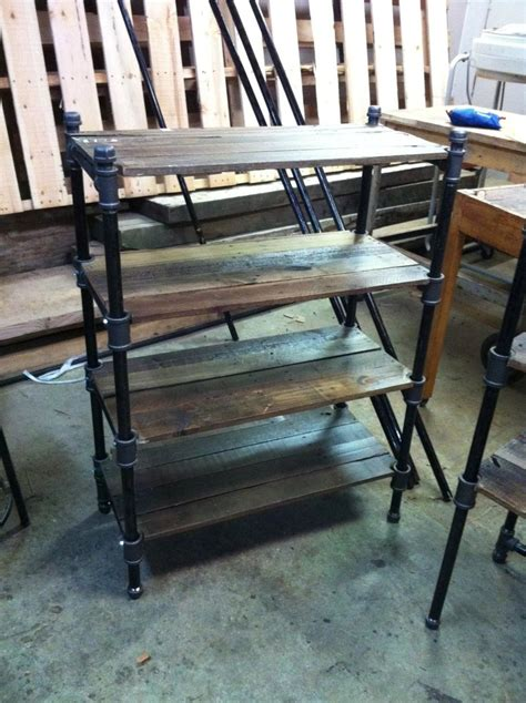 Custom made pair of reclaimed oak and industrial cast iron