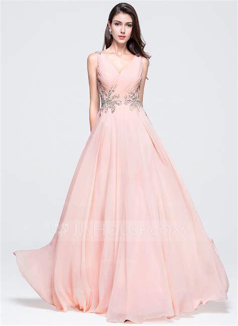 A Line/Princess V neck Floor Length Chiffon Prom Dress