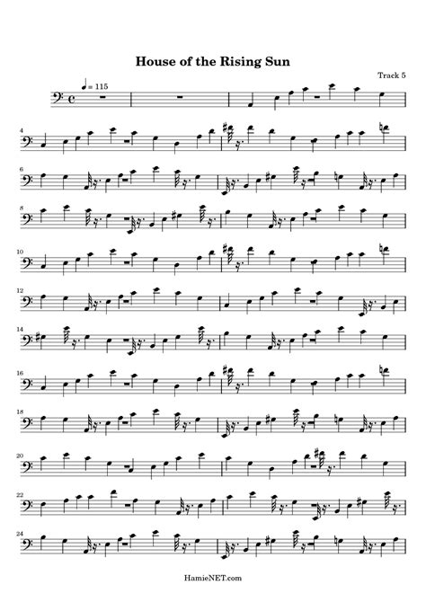 House of the Rising Sun Sheet Music - House of the Rising