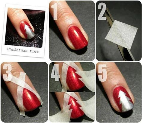 easy nail art for christmas christmas nail art using adhesive tape alldaychic