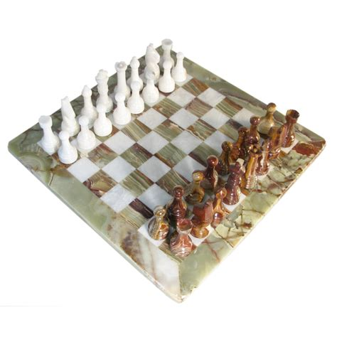 rustic style white and green marble chess set with green