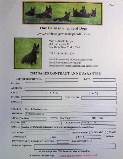 puppy contract vom haus schutz german shepherd k9