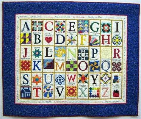 a clever alphabet quilt each letter stands for a