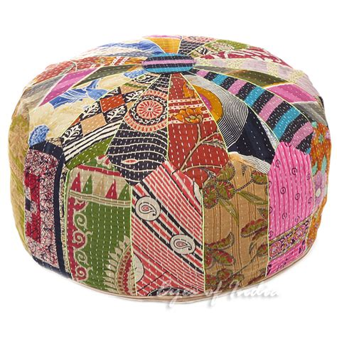 colorful pouf ottoman 10 x 24 quot big colorful kantha round ottoman pouf cover