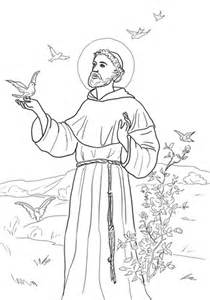 st francis of assisi coloring page printable sketch