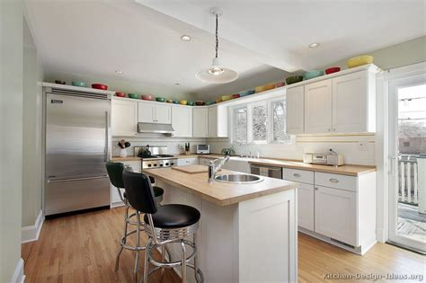 White Kitchen With Wood Countertops by Pictures Of Kitchens Traditional White Kitchen