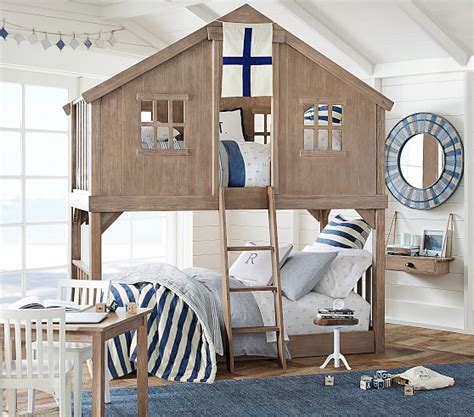 tree house twin  twin bunk bed pottery barn kids