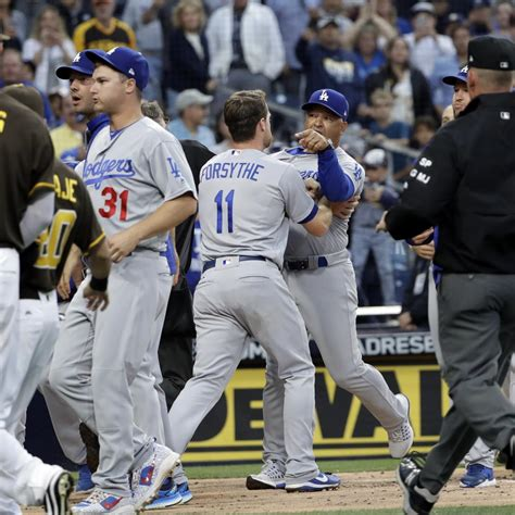 dodgers bench dodgers padres benches clear after dave roberts andy