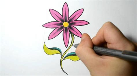 Easy Real Flowers To Draw by How To Draw A Simple Flower Pink