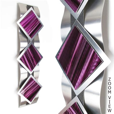 home decor purple modern abstract metal wall art painting sculpture