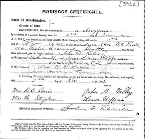Marriage Records Snohomish County Hoffman Family News Hoffman Marriage Certificates