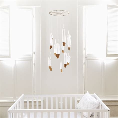 Gold Nursery Decor Diy Nursery Decor Gold Dipped Feather Mobile