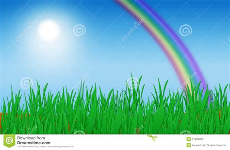 Rainbow Green green grass rainbow background stock illustration image