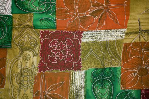 orange green and gold patchwork fabric texture picture