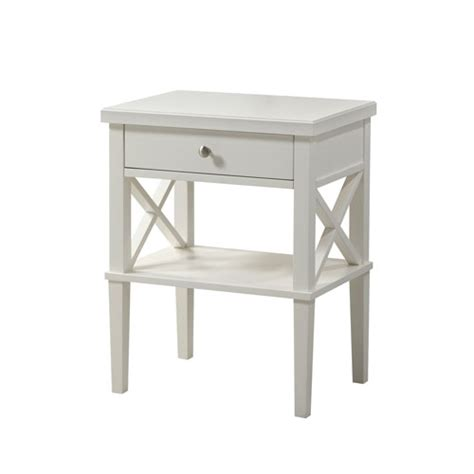 White Nightstand With Wood Top White Solid Wood Nightstand Bellacor