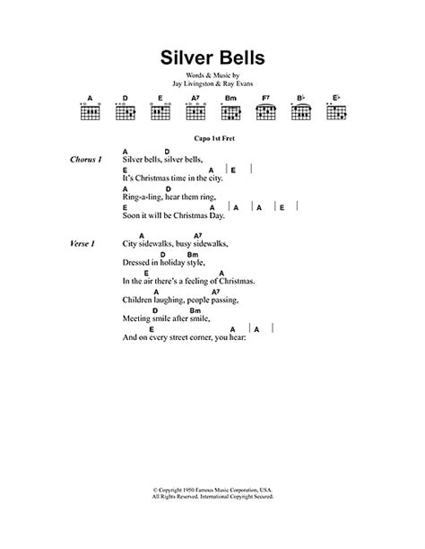 printable lyrics for silver bells silver bells sheet music by jay livingston lyrics
