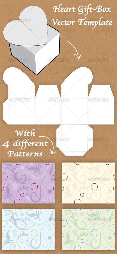 templates for heart shaped boxes heart shaped gift box template graphicriver