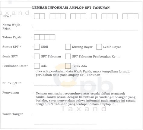 format lop spt tahunan lembar informasi amplop spt tahunan download kalungusus