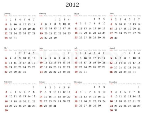 illustration of horizontal 2012 calendar template stock