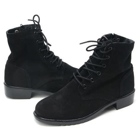 mens black cow suede ankle combat boots