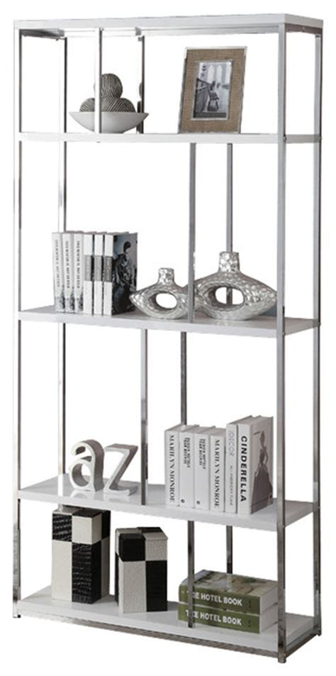 Glossy Bookcase White With Chrome Metal Contemporary White Metal Bookcase