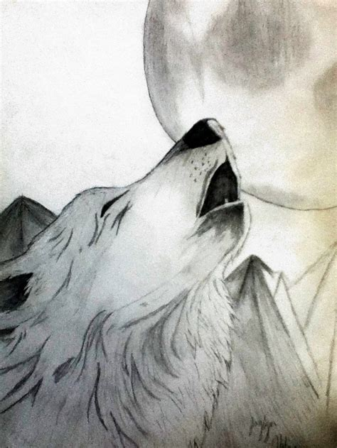 how to a wolf wolf howling at the moon drawing www pixshark images galleries with a bite