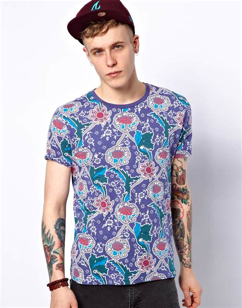 Asos Printed T Shirt Mens by Asos Floral Print T Shirt In Blue For Lyst