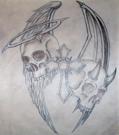 badass tattoos drawings heaven and hell by maximillion grimm on deviantart