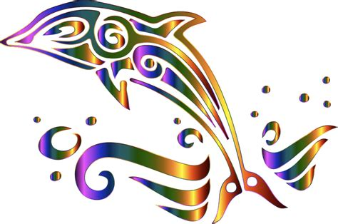 clipart chromatic tribal dolphin 2 no background