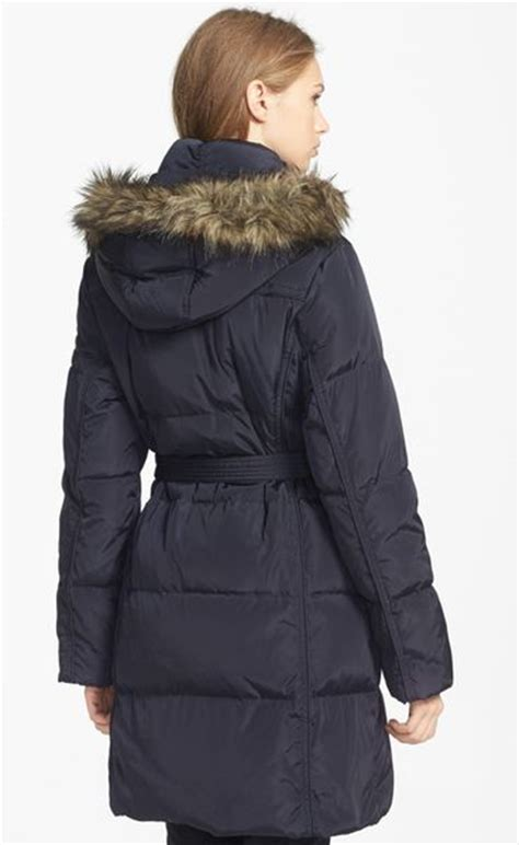 Michael Michael Kors Faux Fur Trim Quilted Coat by Michael Michael Kors Faux Fur Trim Quilted Coat In Blue