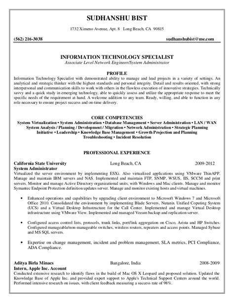 qa analyst sle resume resume format for it engineers freshers sle resume with